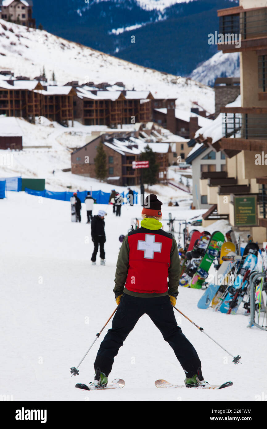 USA, Colorado, Crested Butte, Mount Crested Butte Ski Village, skiers. - Stock Image