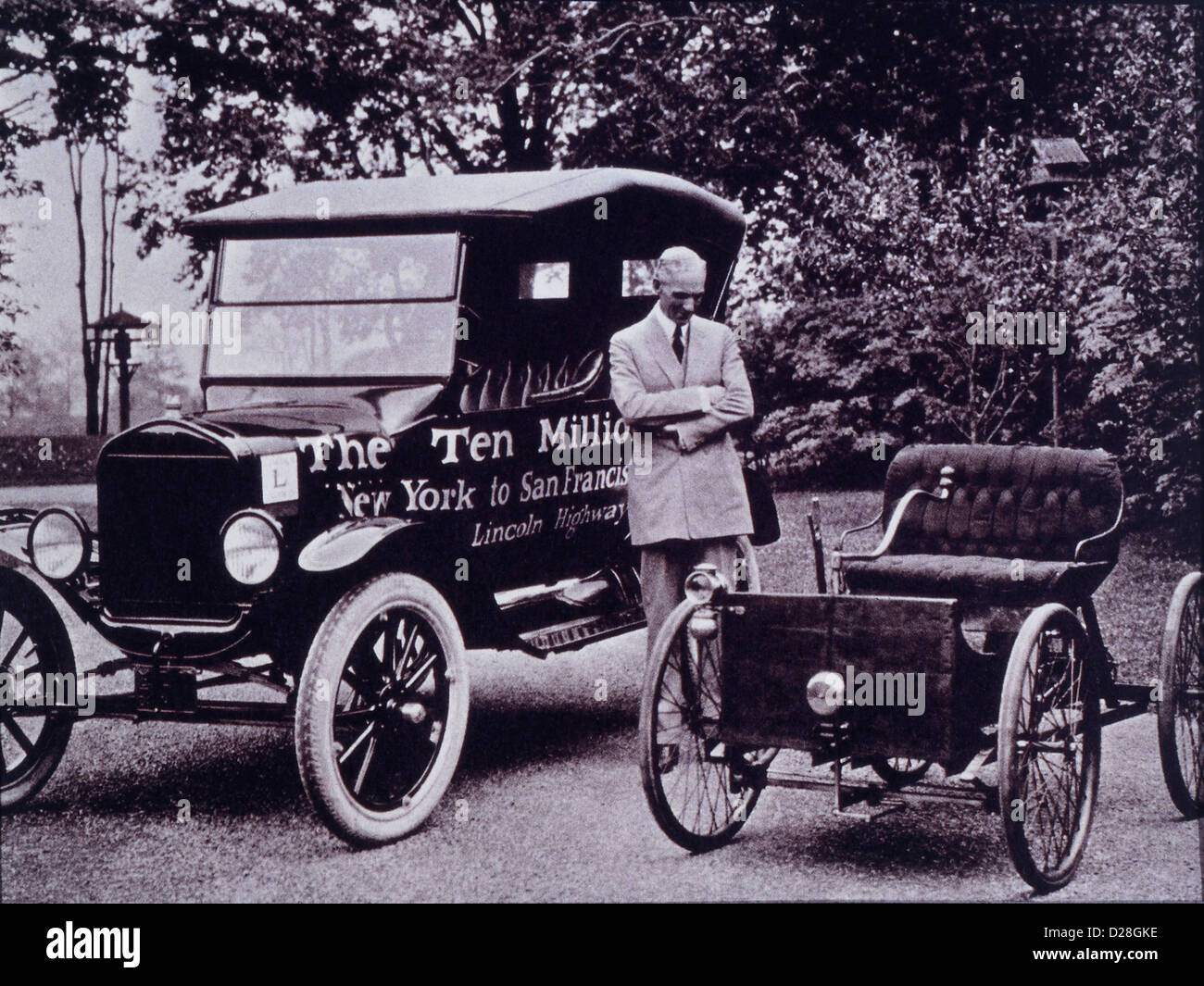 Henry ford with his first auto the quadricycle and ford model t circa 1933
