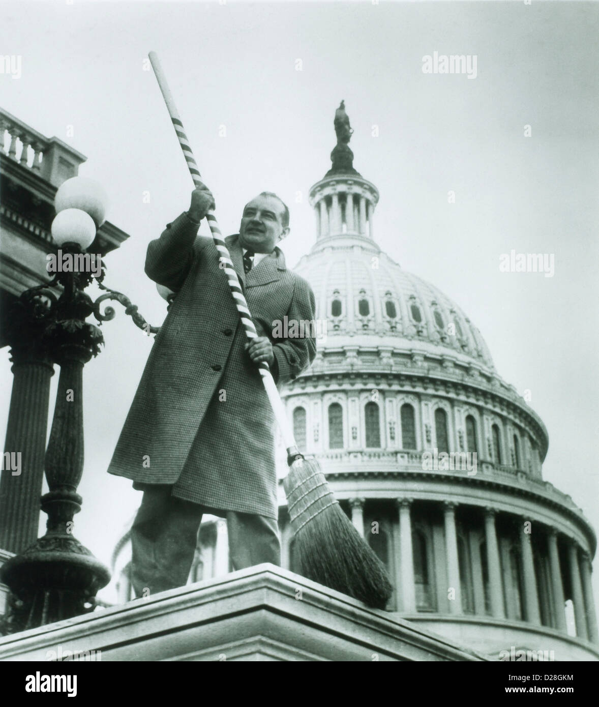 U.S. Senator Joseph McCarthy  in front of U.S. Capitol, Washington D.C., Poised to Sweep Communists out of Government, - Stock Image