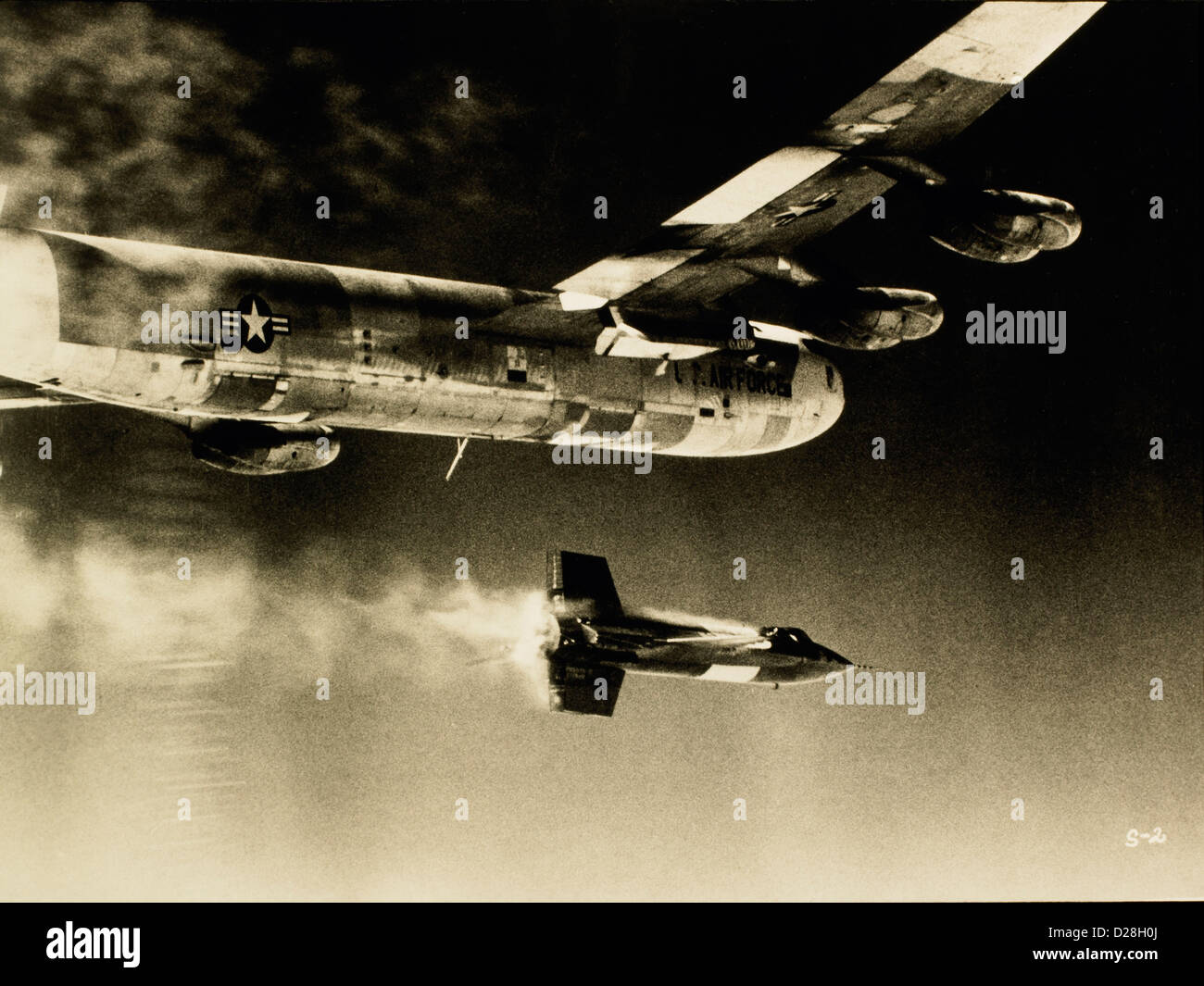 X-1 Supersonic Rocket Ship Launched from Converted  B-52 Bomber, Circa 1950 - Stock Image