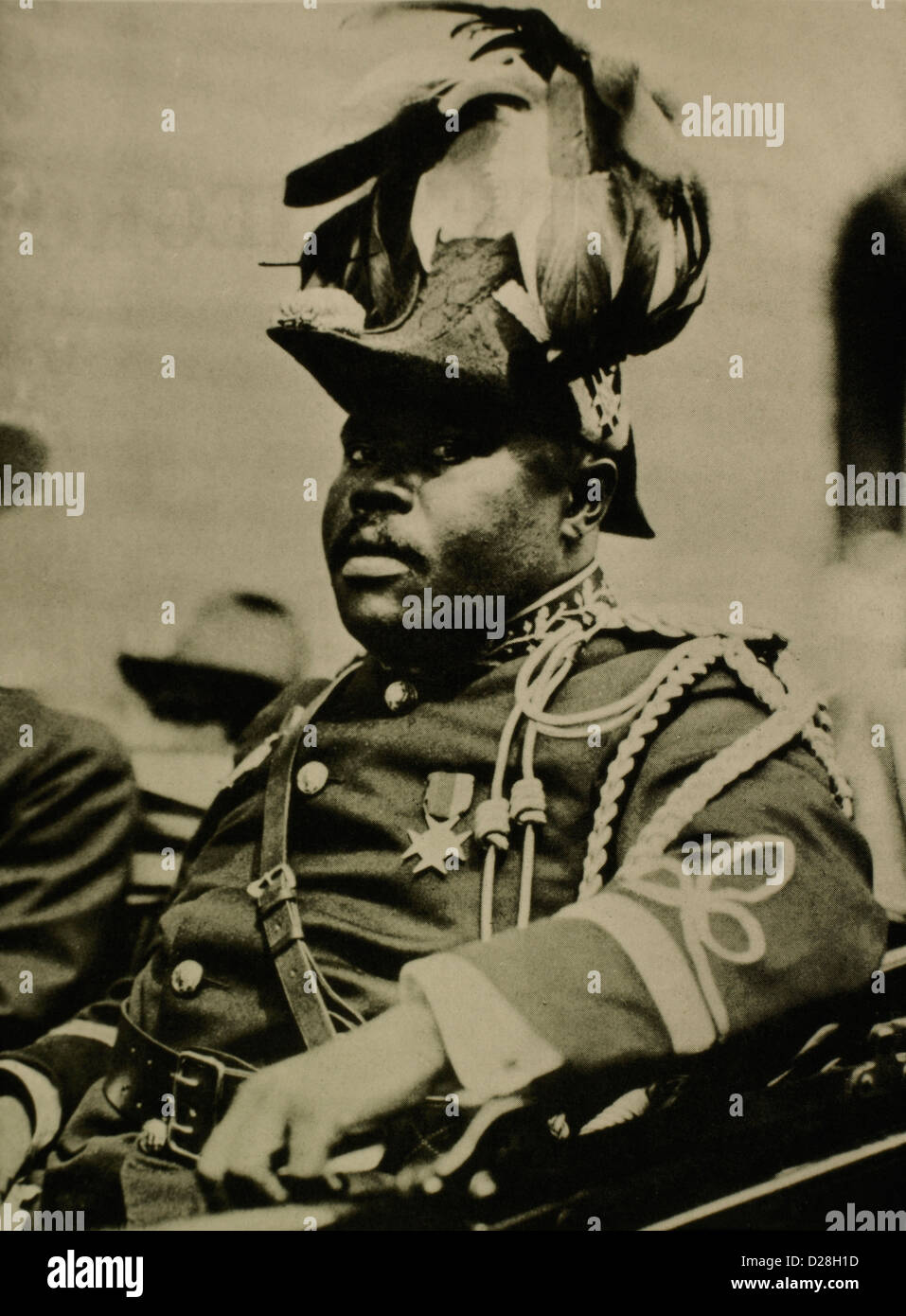 Marcus Garvey (1887-1940), Riding in Car at U.N.I.A.Parade, New York City, USA, Circa 1920's - Stock Image
