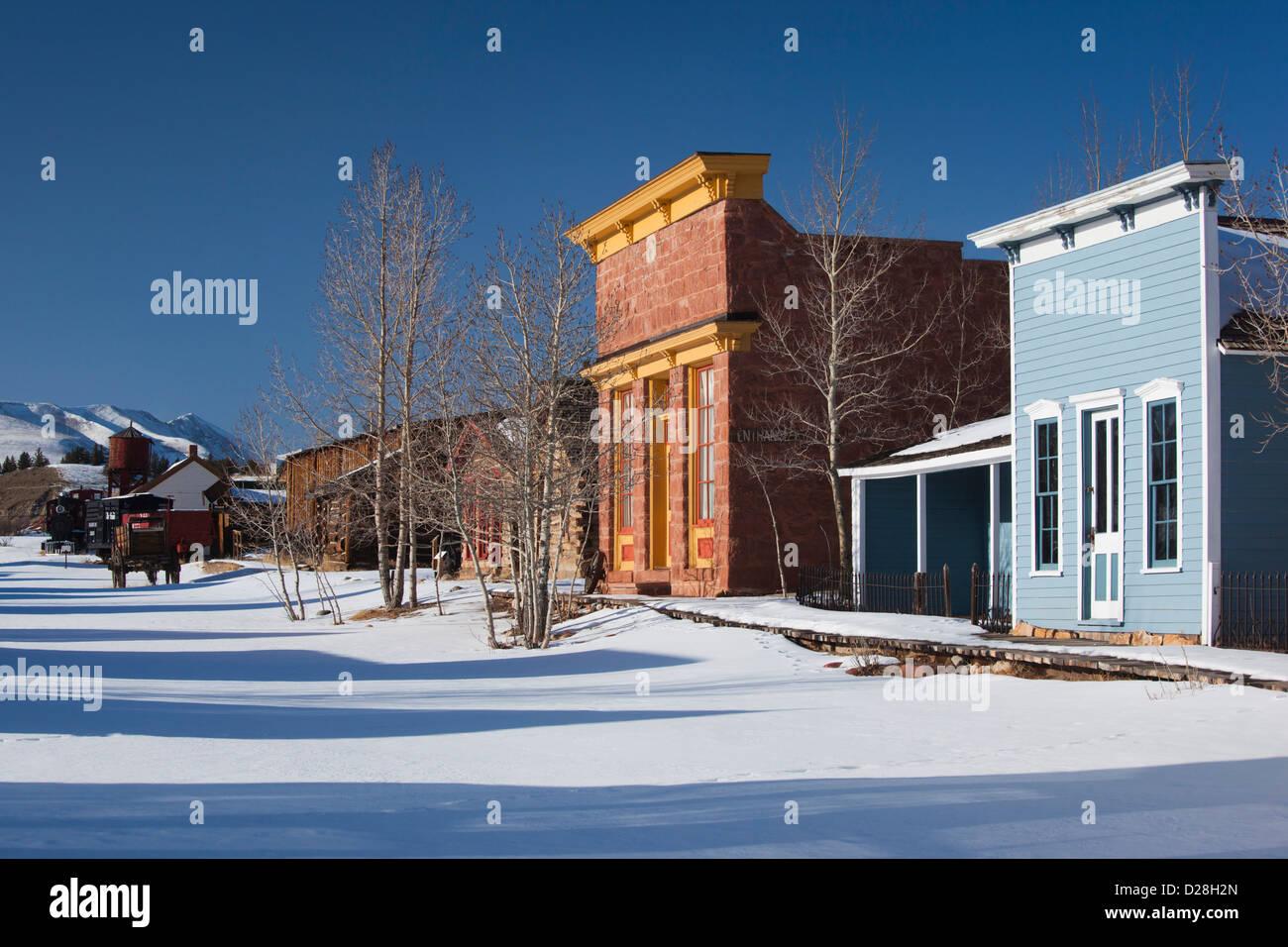USA, Colorado, Fairplay, historic Western buildings - Stock Image