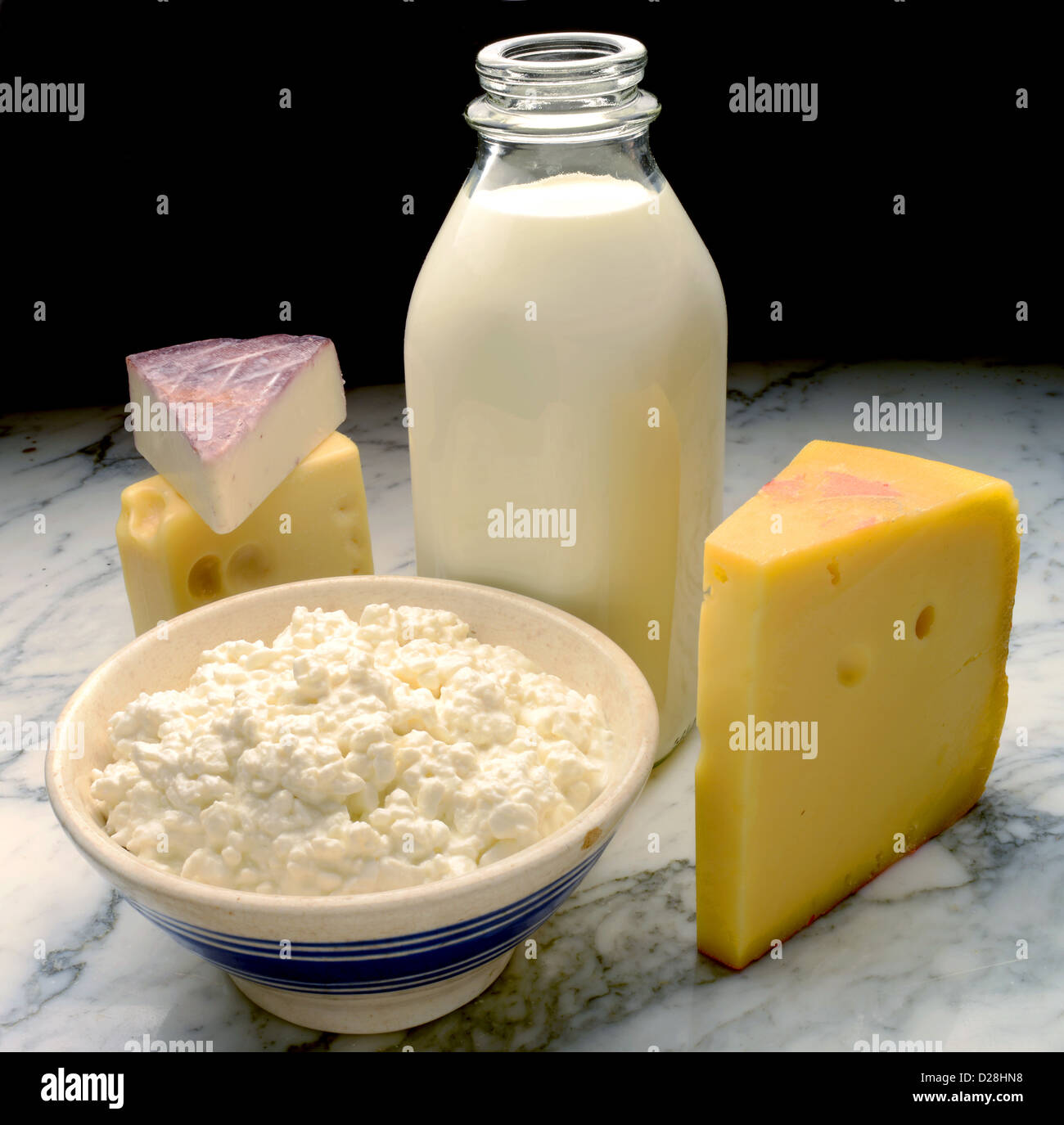 dairy products on marble - Stock Image