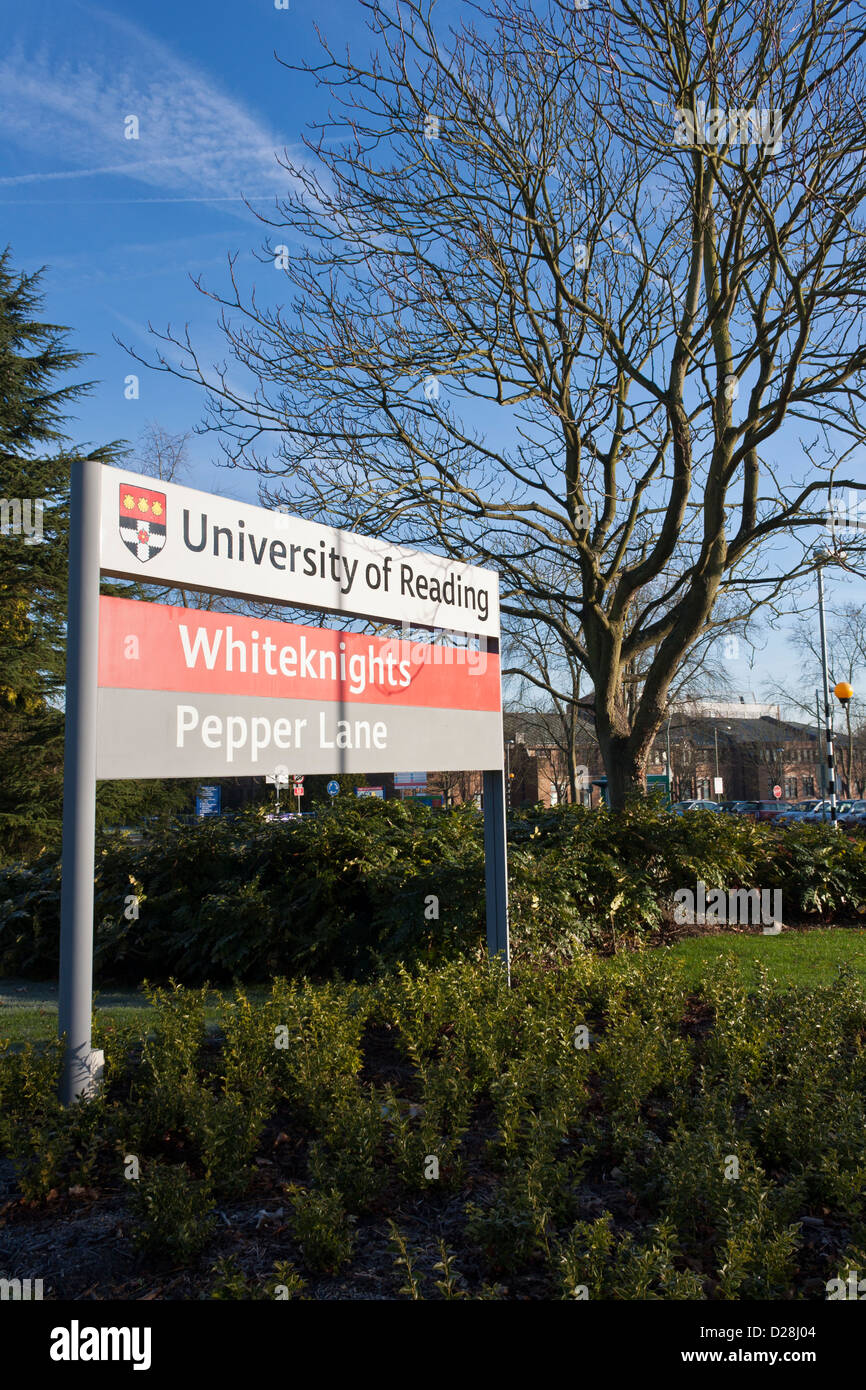Signboard at the Pepper Lane entrance to Reading University. - Stock Image