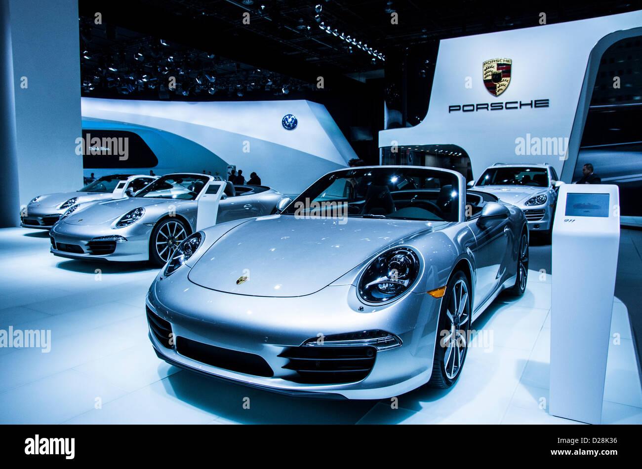 Porche 911s In American International Auto Show NAIAS 2013