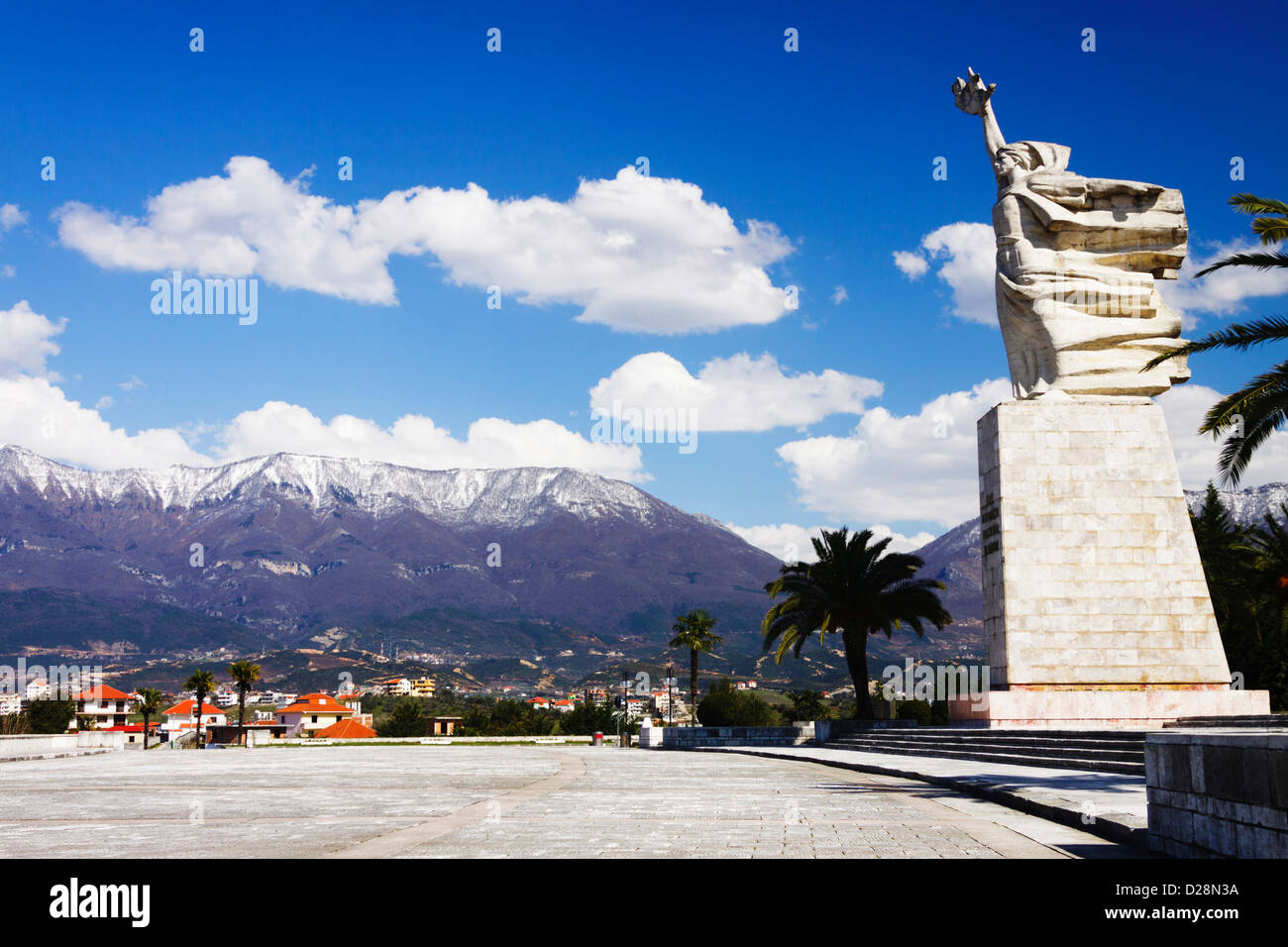 Mother Albania 12 meters statue by the 28.000 graves of Albanian partisans at the National Martyrs Cemetery. Tirana, - Stock Image