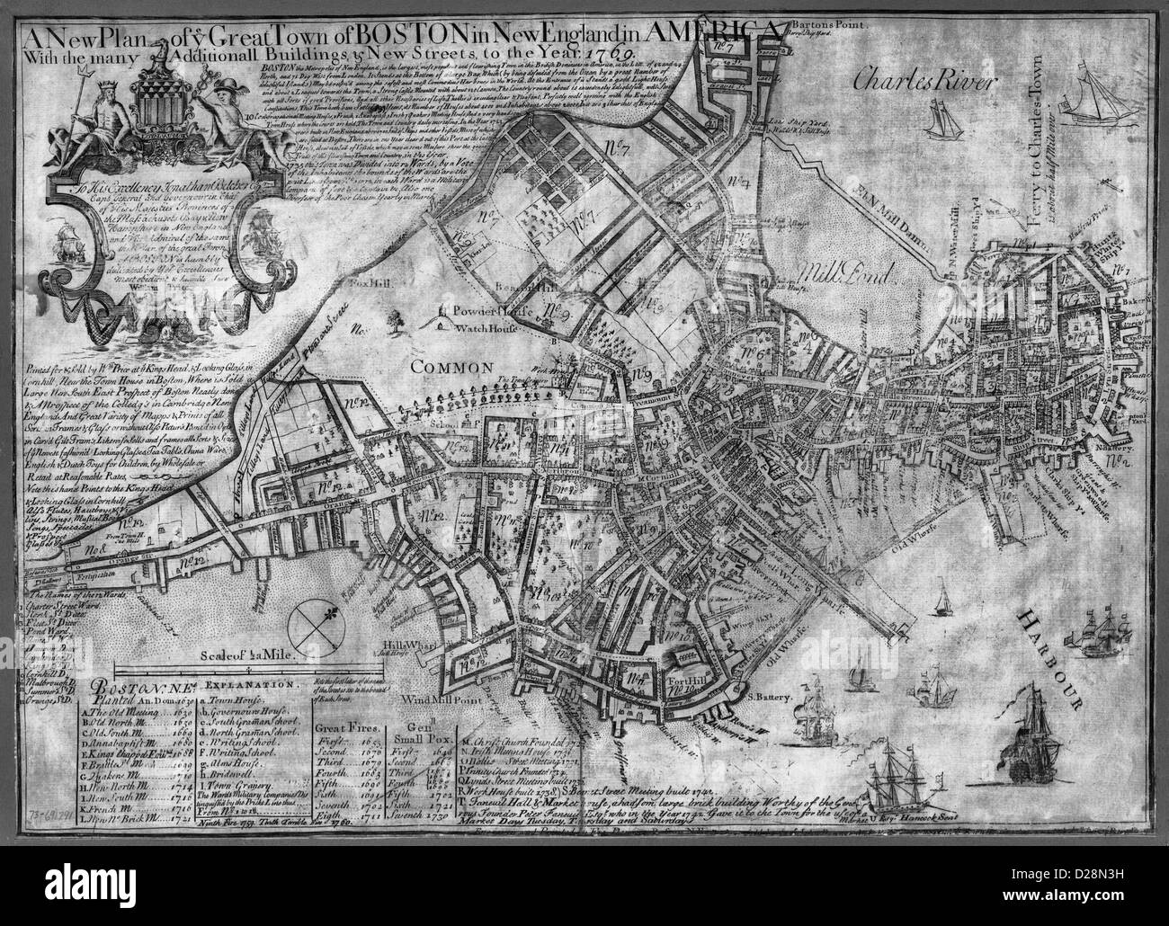 MAP A new plan of ye great town of Boston in New England in America with the many additionall buildings & new - Stock Image