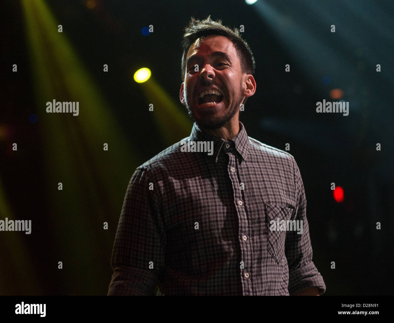 Linkin Park lead singer Mike Shinoda on stage at a concert in Moody Theater in Austin, Texas - Stock Image