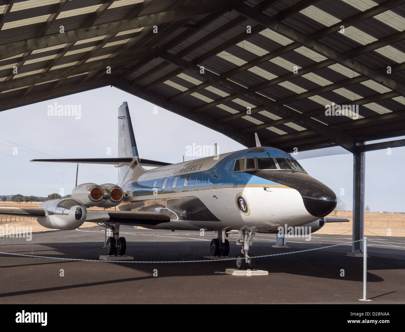 Lyndon B Johnson's Lockheed JetStar that flew him to the LBJ ranch in Johnson City Texas Stock Photo
