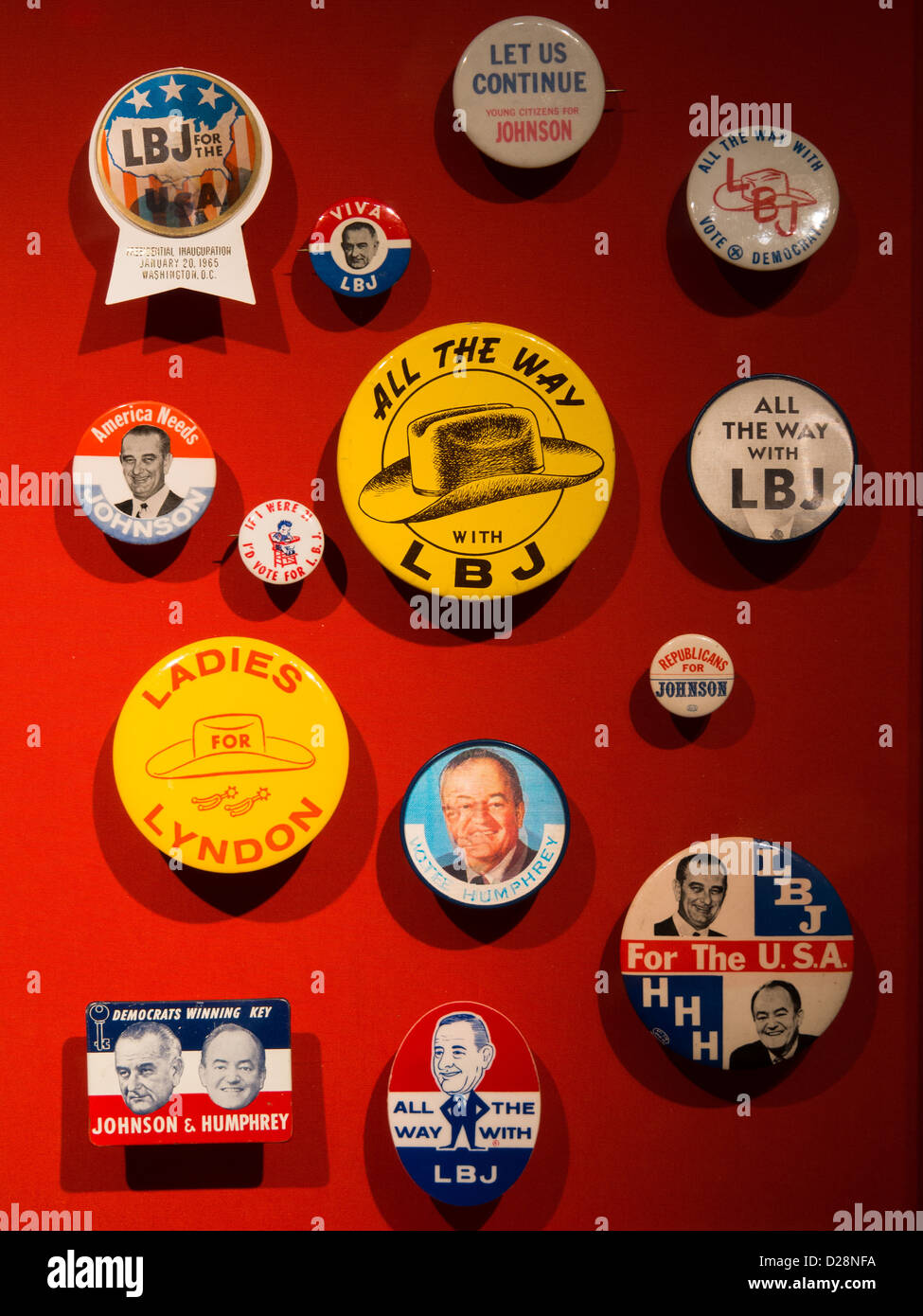 LBJ Presidential campaign buttons in an exhibit at the LBJ Museum and Presidential Library in Austin, Texas Stock Photo