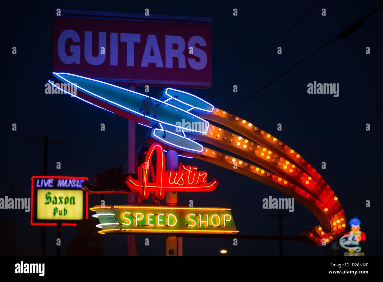 Austin Texas Mikayla Neon: Austin Speed Shop, Saxon Pub, And South Austin Music Neon