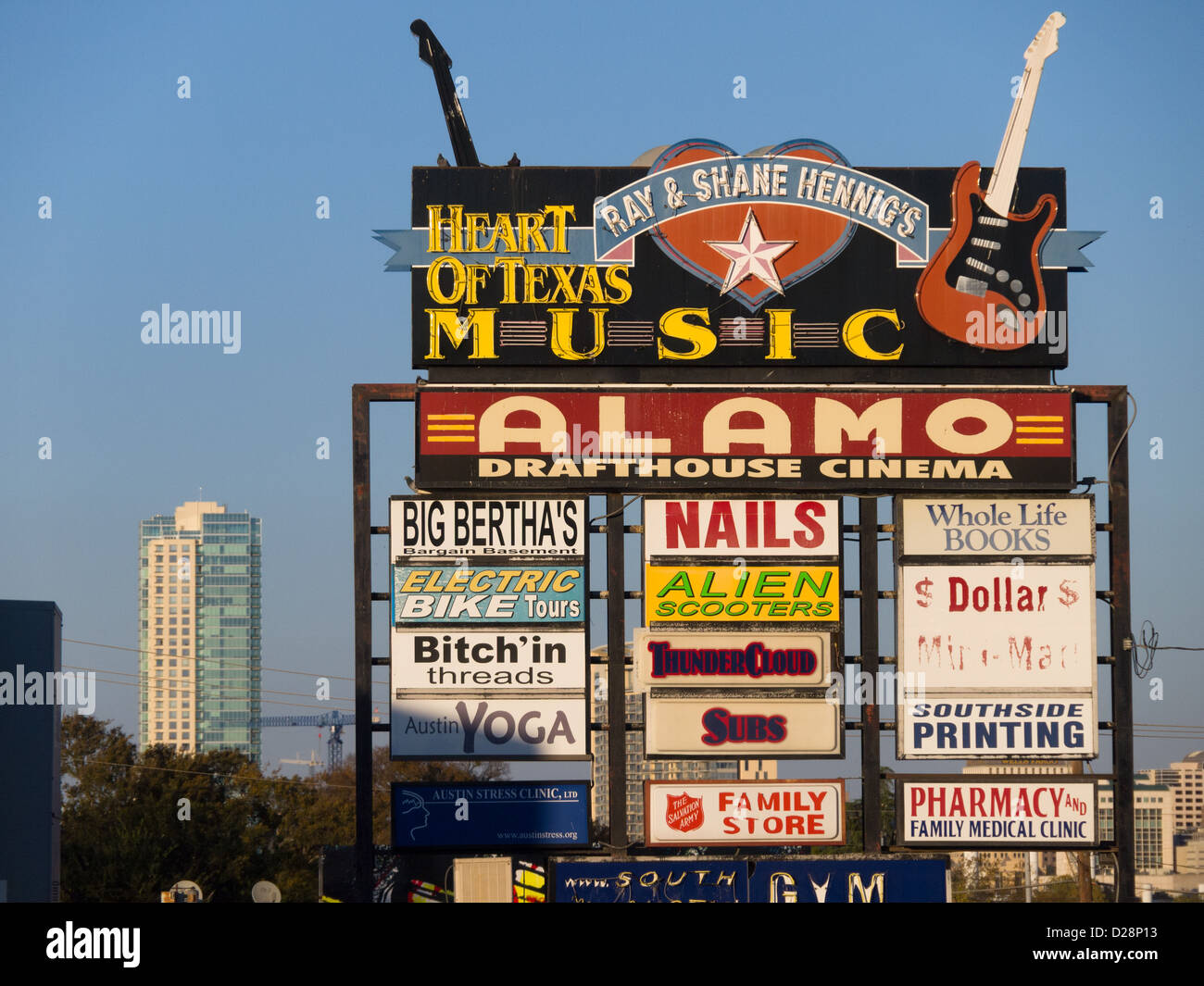 The old Alamo Drafthouse and Heart of Texas Music signs in Austin, Texas on South Lamar Boulevard - Stock Image
