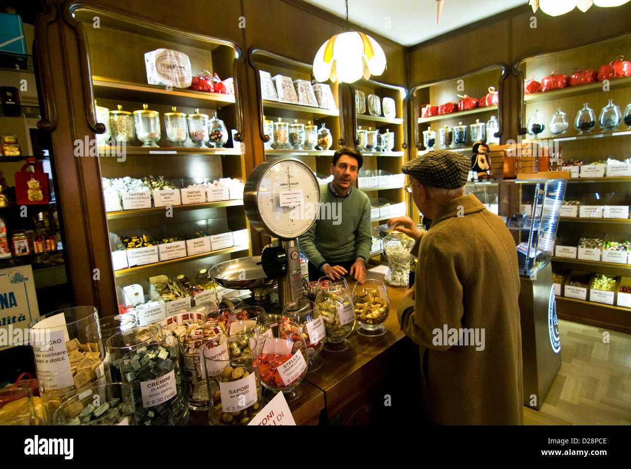 Bottega Delle Delizie - The most popular Chocolate shop in the old town of Bra, Piedmont, Italy. - Stock Image