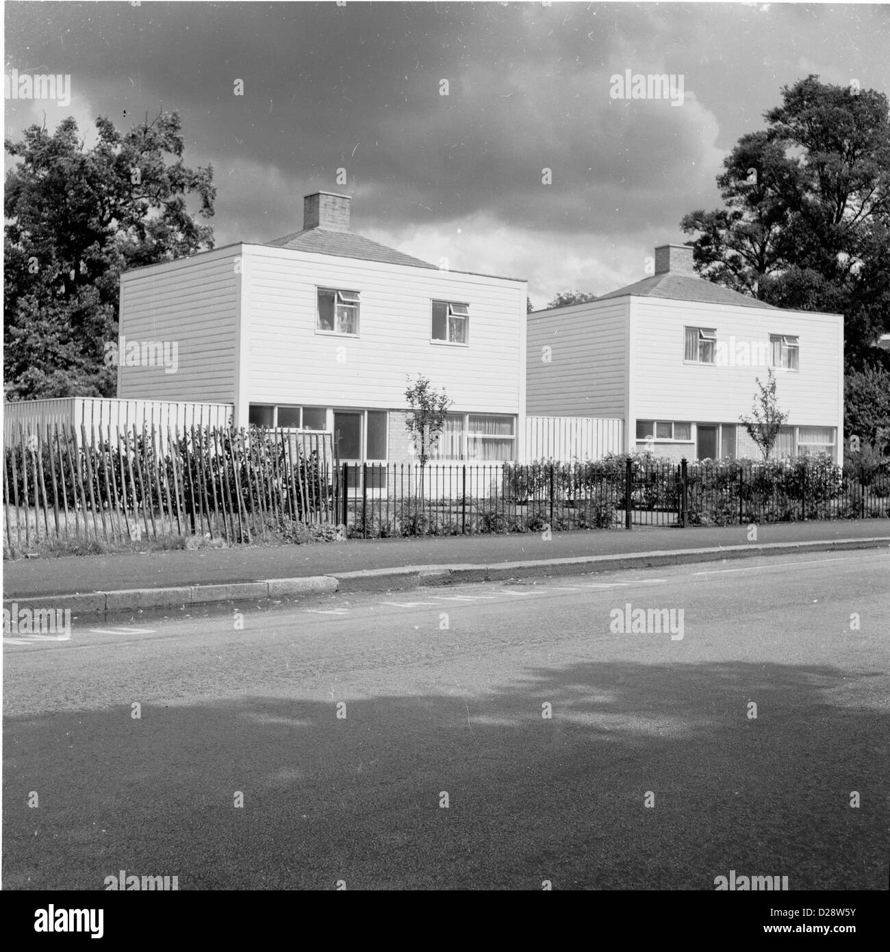 London1960s Two Newly Built Modern Square Shaped Houses