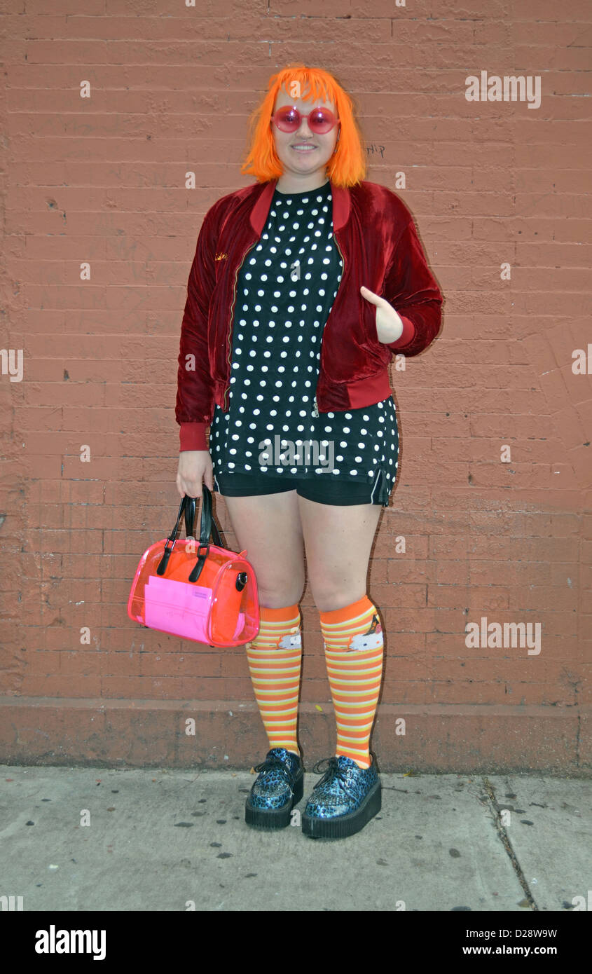Portrait of a student and fashion designer in the East Village, New York City - Stock Image
