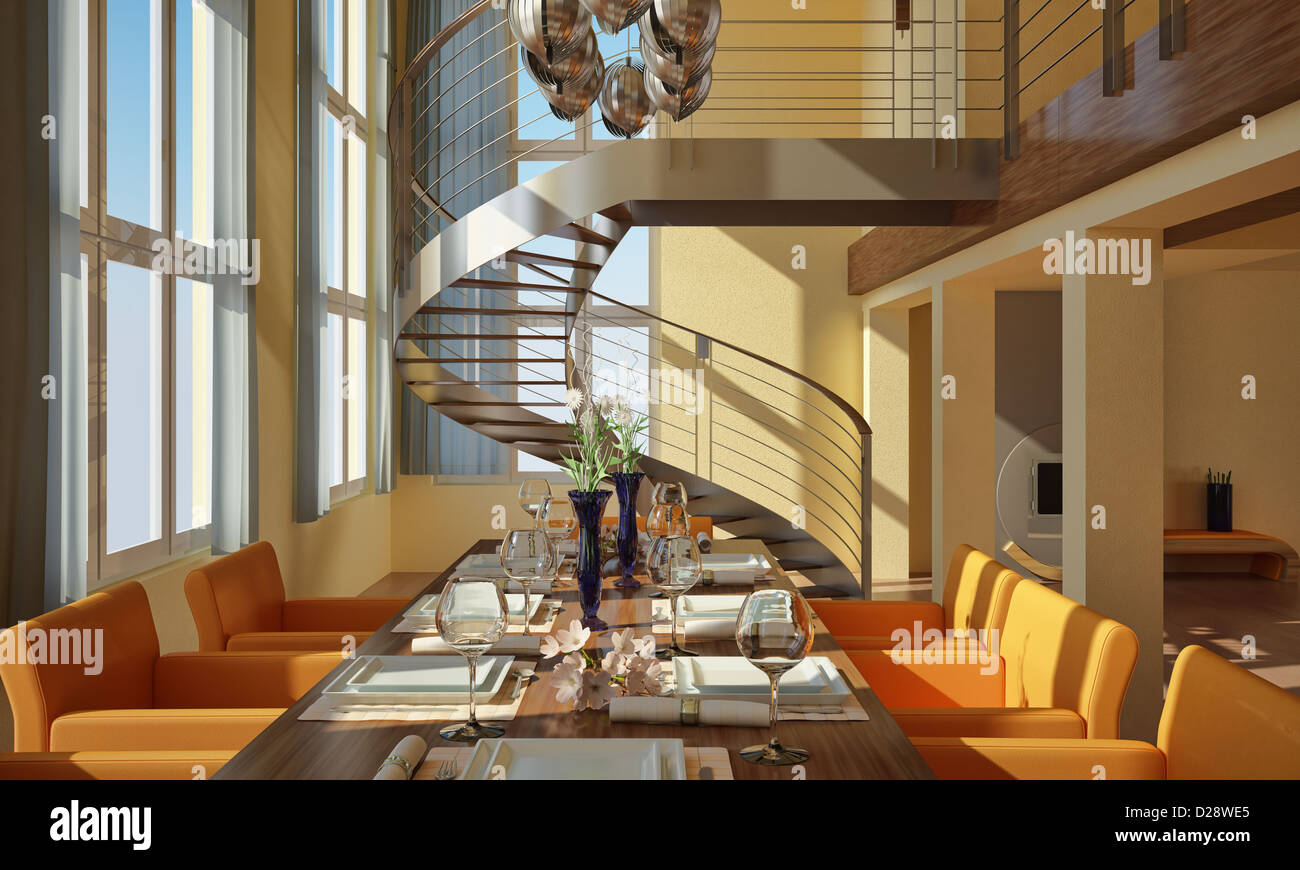 Charming Modern Dining Room With Wide Windows, Table Set, Spiral Staircase And  Fireplace