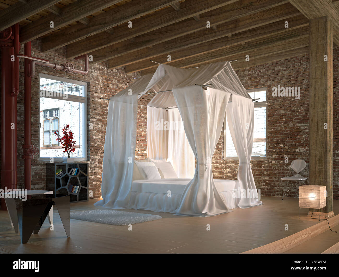 Luxury loft bedroom, with four poster bed. Wooden floor and ceiling and walls made of old bricks, with some pipelines. - Stock Image