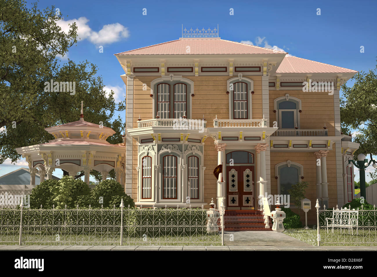 Luxury Victorian style house exterior. Frontal view, with gazebo and garden. - Stock Image