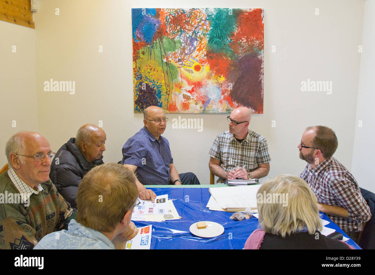 Consultation with staff and volunteers at charity for people with visual impairments (NRSB) as part of rebranding exercise Stock Photo