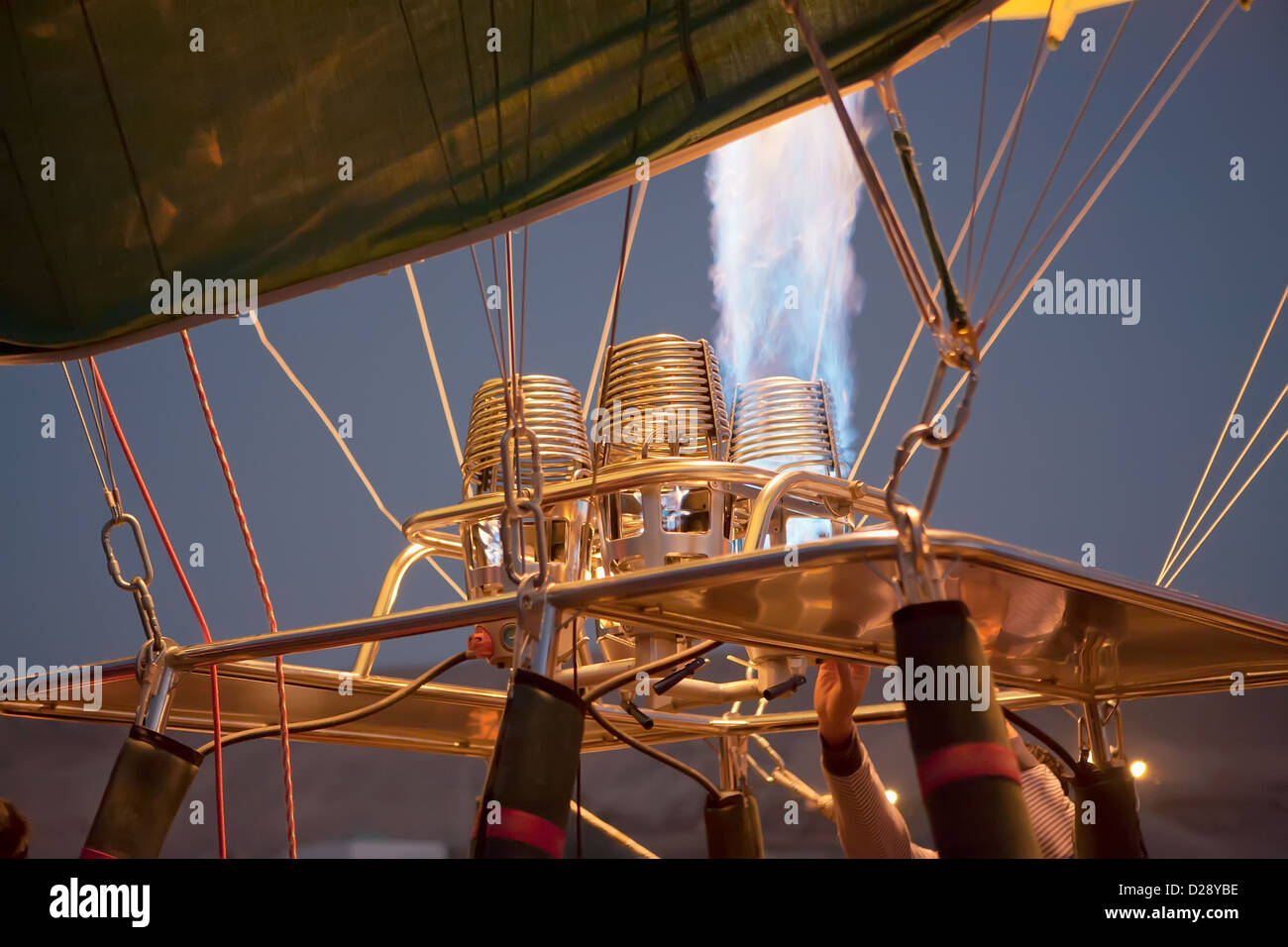Detail of hot air balloon being inflated - Stock Image