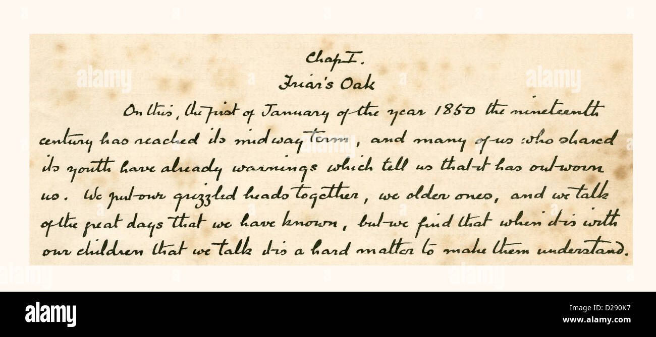 Manuscript of the opening sentences of the story Rodney Stone, by Sir Arthur Conan Doyle. - Stock Image