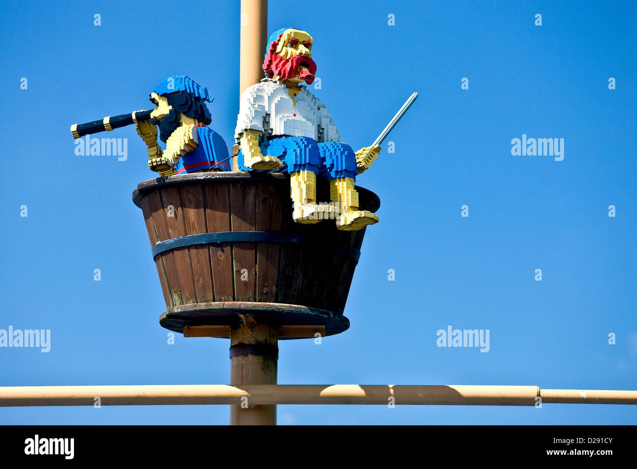 Watching pirates made from lego bri - Stock Image