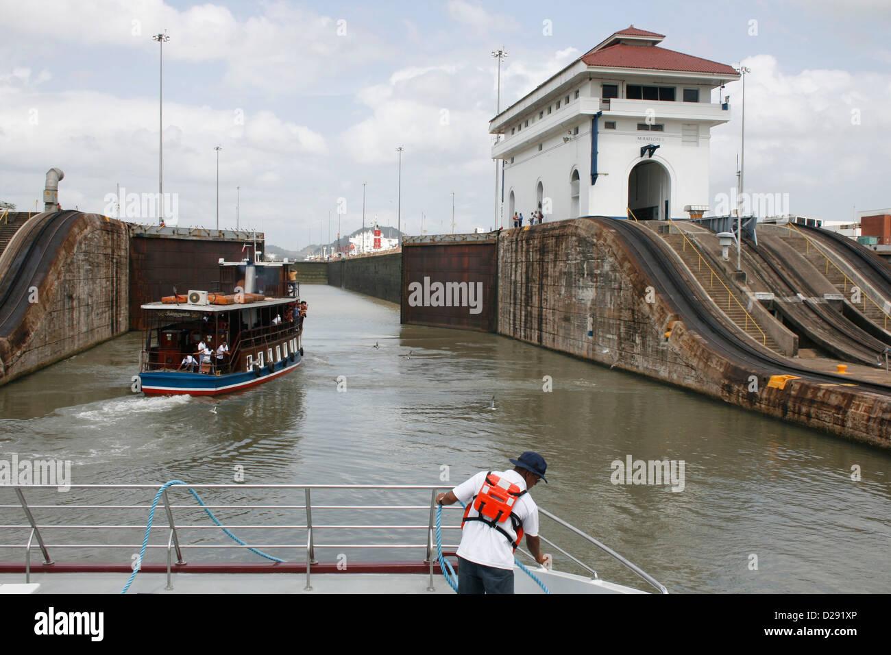 Panama, Passing Through Canal Locks - Stock Image