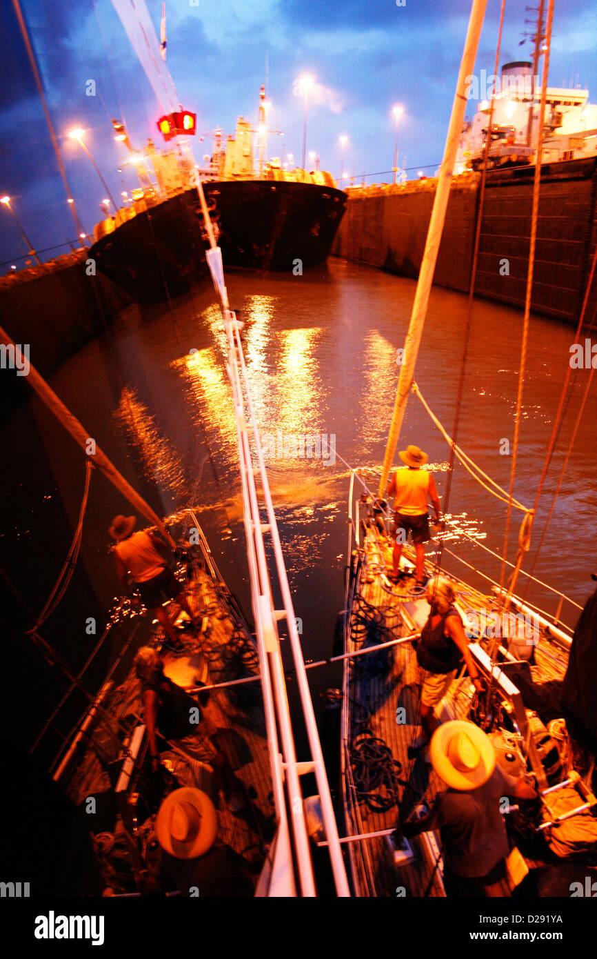 Panama, Evening Passage Through Canal Locks - Stock Image