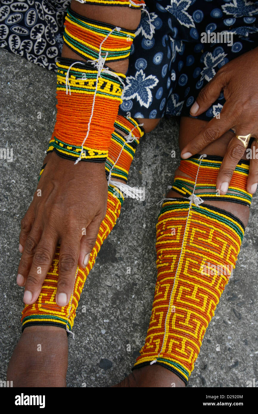 Panama, Kuna Woman'S Traditional Beading For Legs And Arms - Stock Image