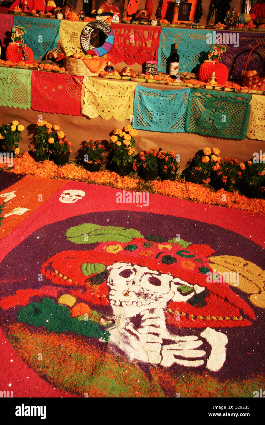 Altar For Day Of The Dead Festivities At Xcaret Near Playa Del Carmen. Mexico - Stock Image