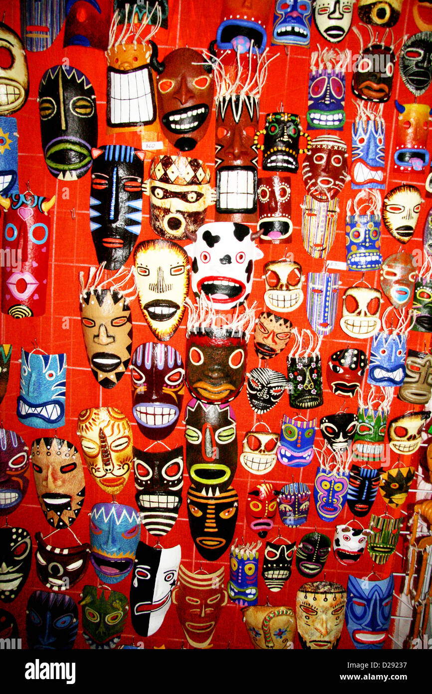 Masks For Day Of The Dead Festivities At Xcaret Near Playa Del Carmen. Mexico - Stock Image
