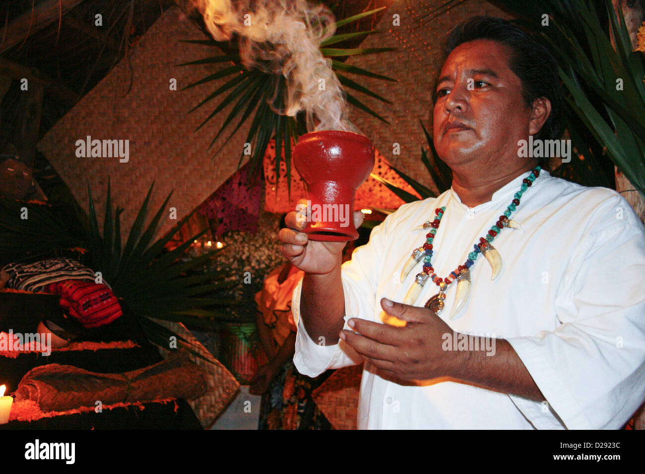 Shaman At Altar For Day Of The Dead Festivities At Xcaret Near Playa Del Carmen. Mexico - Stock Image