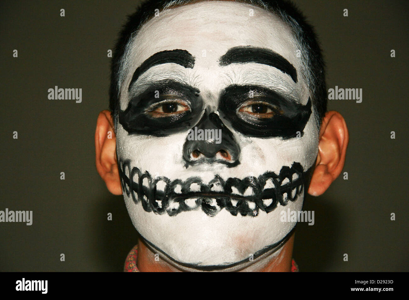 Painted Participant At Day Of The Dead Festivities At Xcaret Near Playa Del Carmen. Mexico - Stock Image