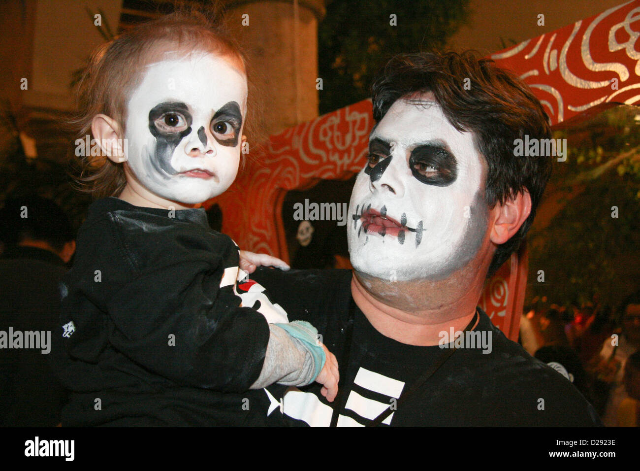 Painted Participants At Day Of The Dead Festivities At Xcaret Near Playa Del Carmen. Mexico - Stock Image