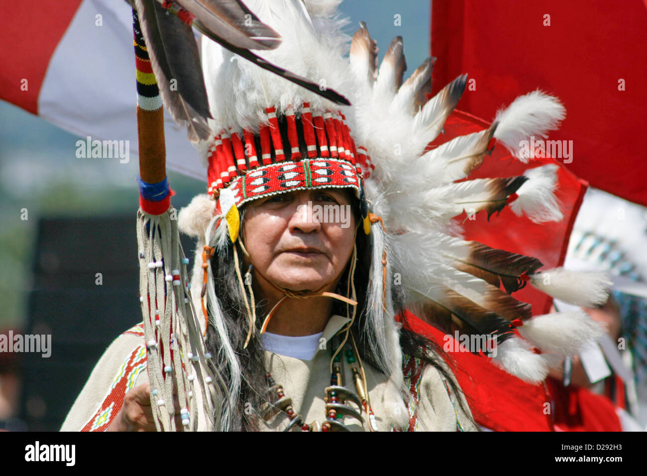 Squamish First Nations Chief At Opening Ceremonies Of Pow-Wow In West Vancouver, B.C. Canada Stock Photo