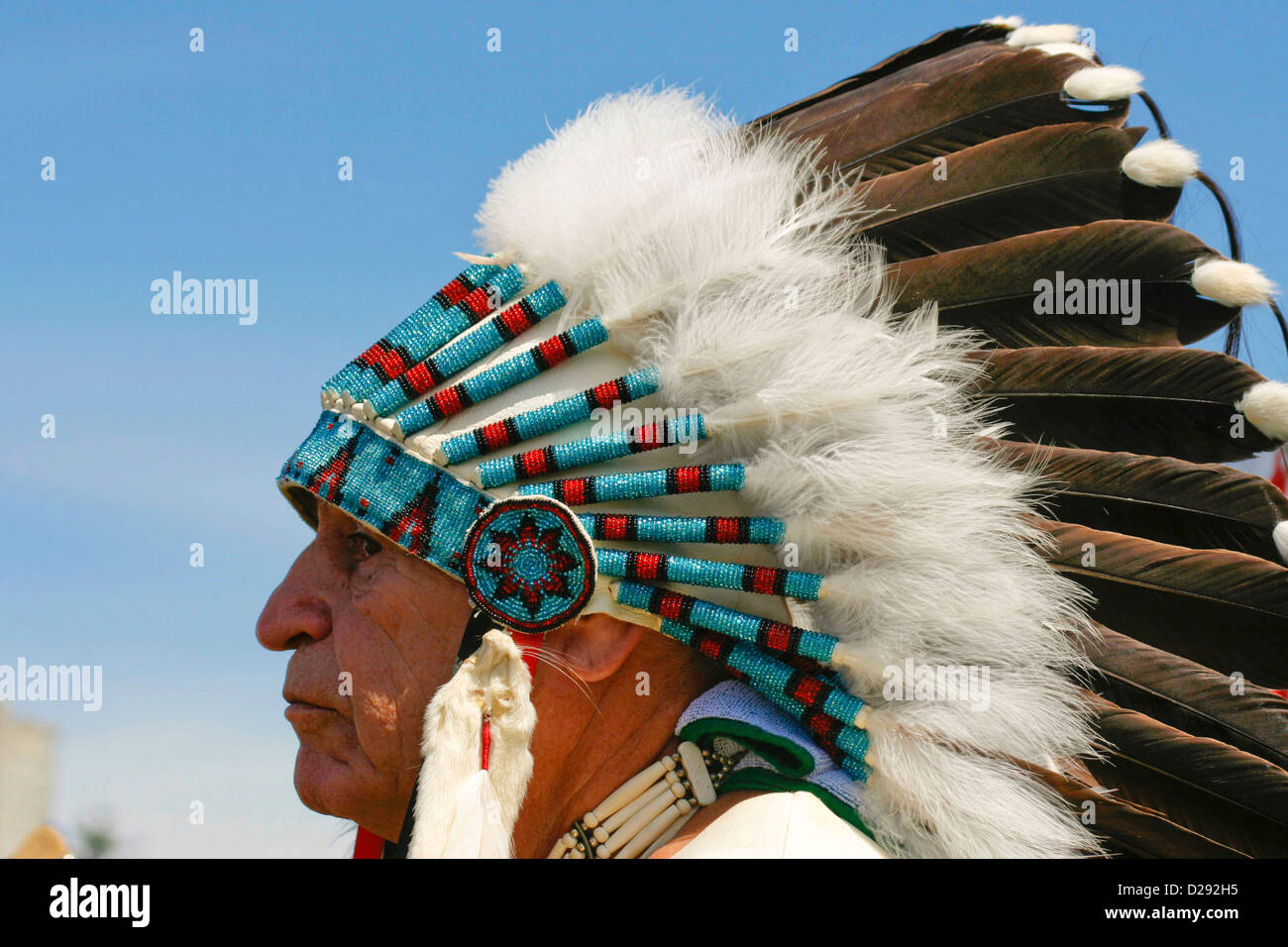 Squamish First Nations Chief At Opening Ceremonies Of Pow-Wow, West Vancouver, B.C., Canada - Stock Image