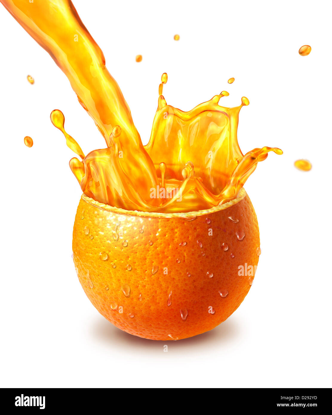Orange fresh fruit cut in half, with a juice splash in the middle. - Stock Image