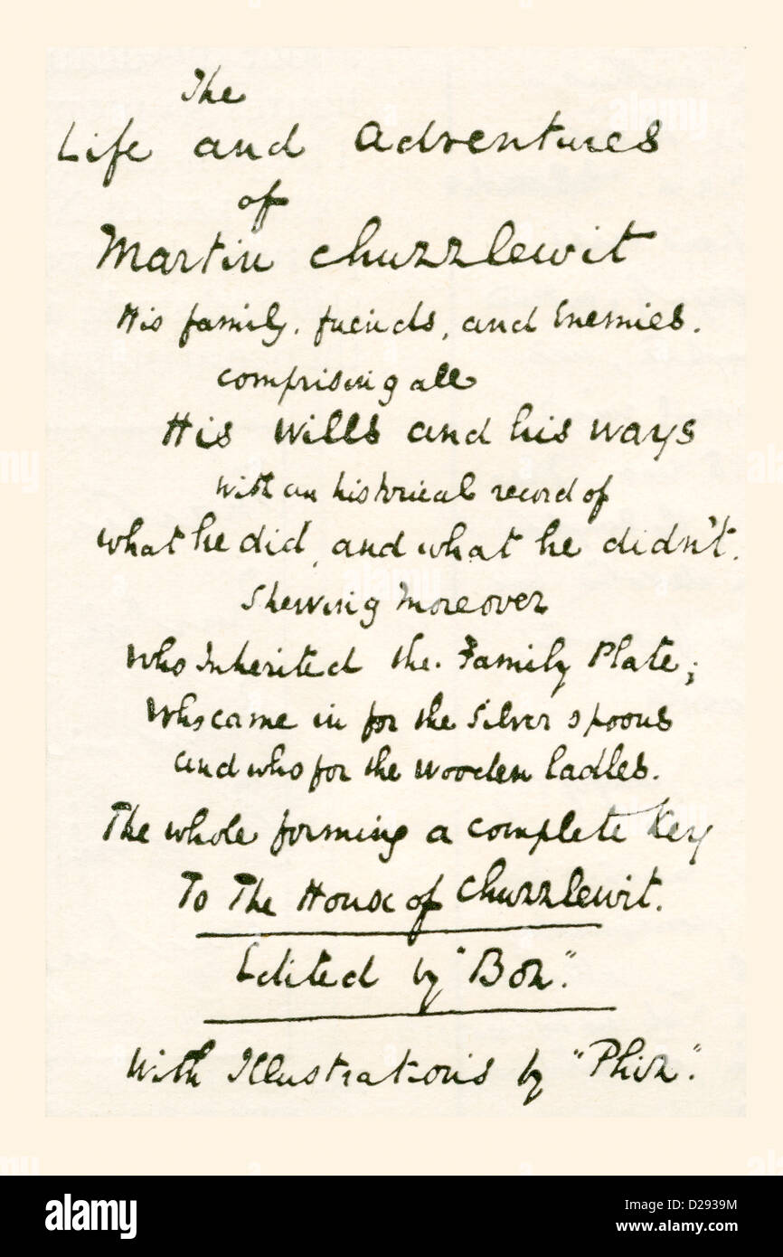One of the title pages written by Charles Dickens when he was working on his novel Martin Chuzzlewit. - Stock Image