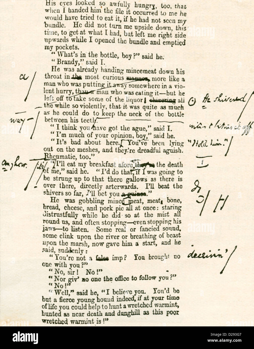 Page proof from Great Expectations, showing Charles Dickens's hand written corrections. - Stock Image