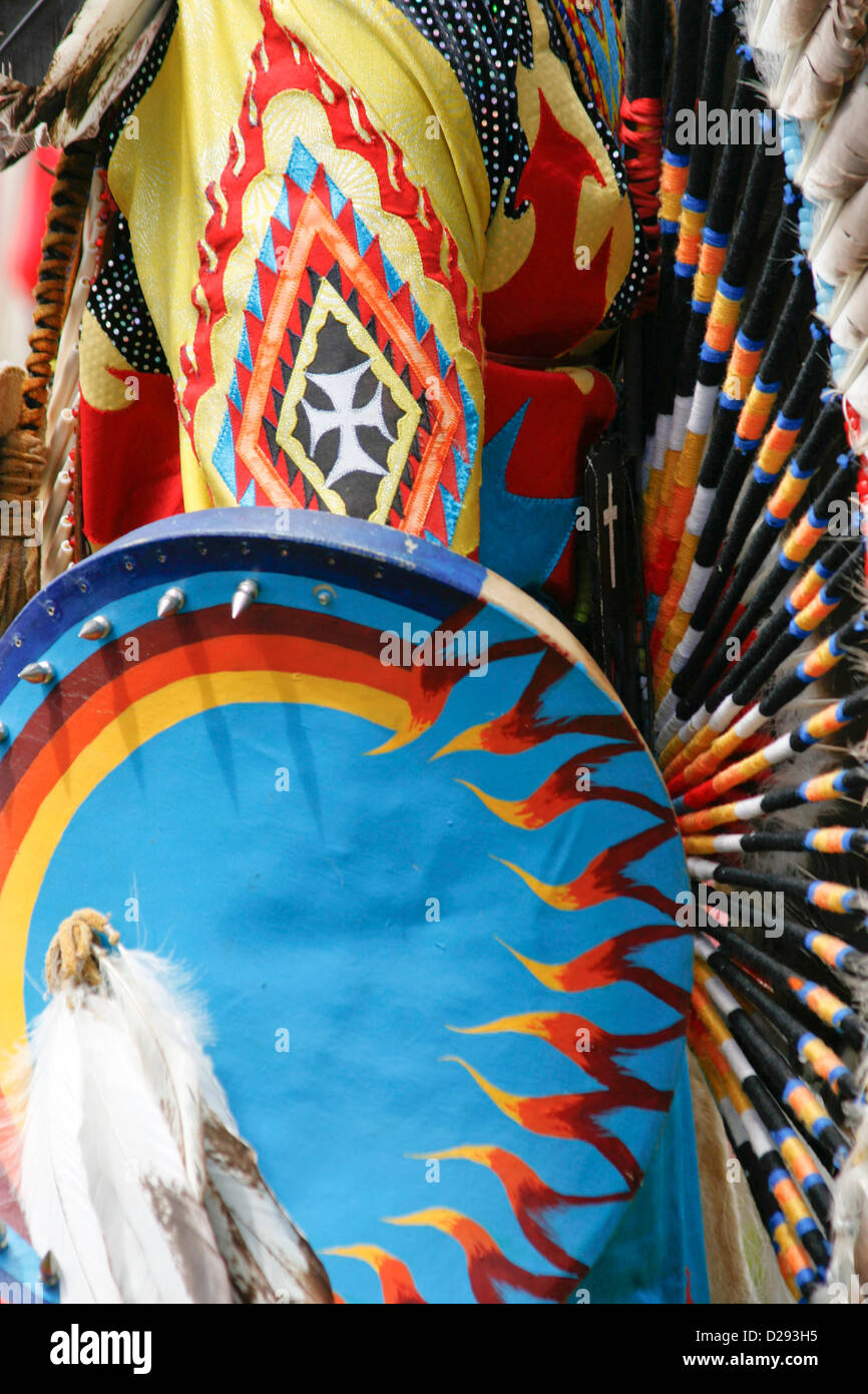 Detail Of Regalia At Pow-Wow In West Vancouver, B.C. Canada - Stock Image