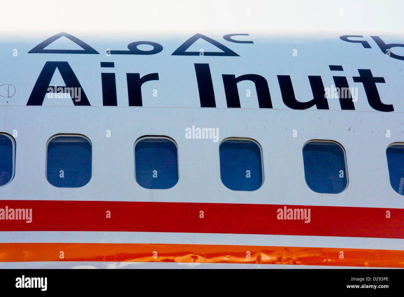 Air Inuit Plane, Iqaluit, Nunavut Arctic Canada - Stock Image