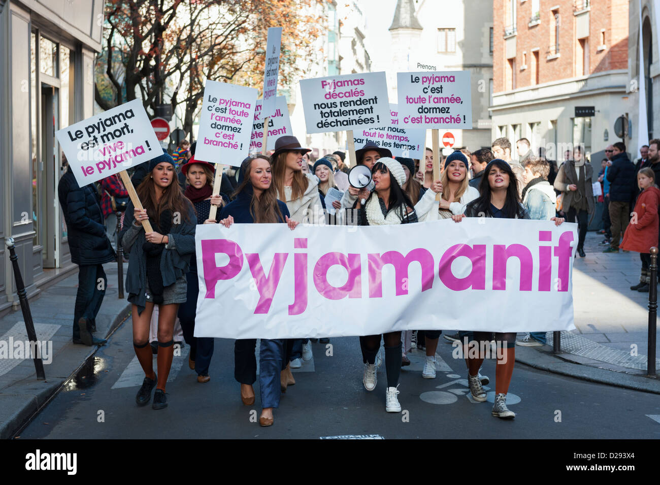 Pyjamanif - PR event in the Marais (Paris) for the Princess Tam Tam brand - styled as street protest - Stock Image