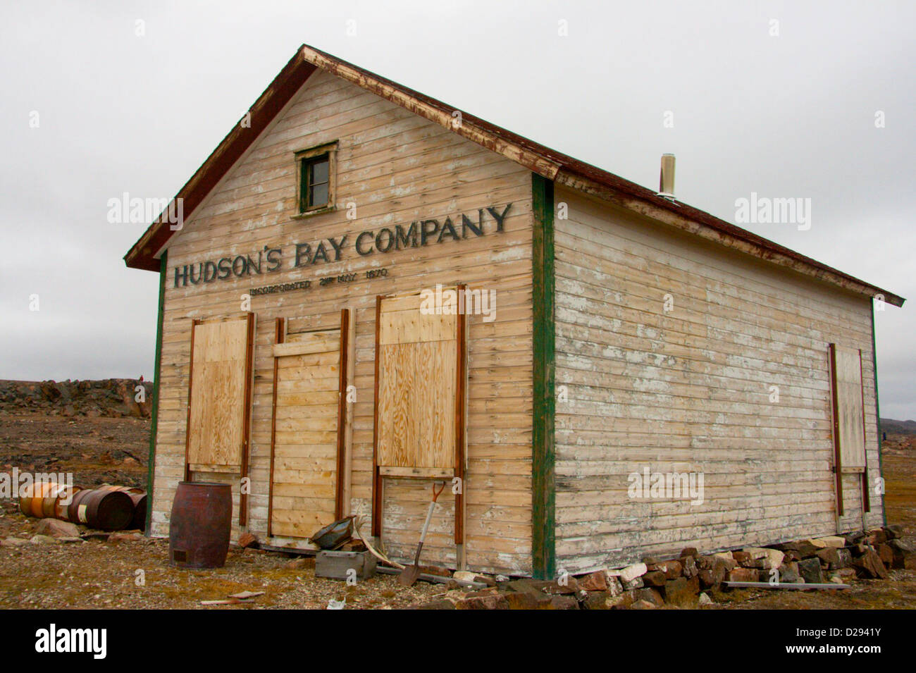 Old Hudson'S Bay Post, Fort Ross, Nunavut, Arctic Canada - Stock Image