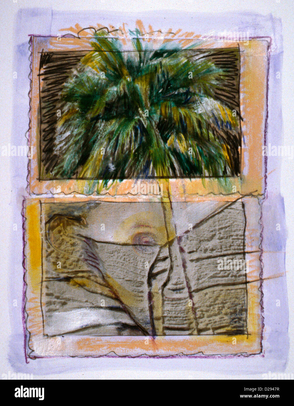 African Greetings. Photo Emulsion And Paint. - Stock Image