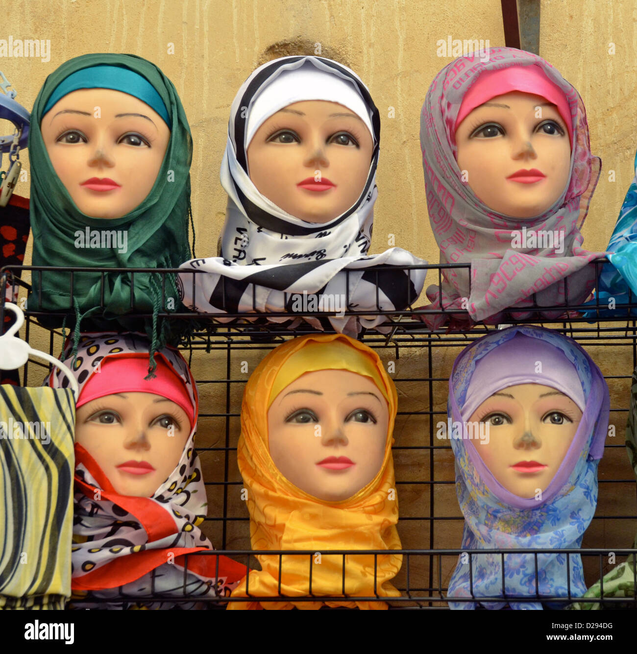 Islam hijabs for sale in Fez, Morocco - Stock Image