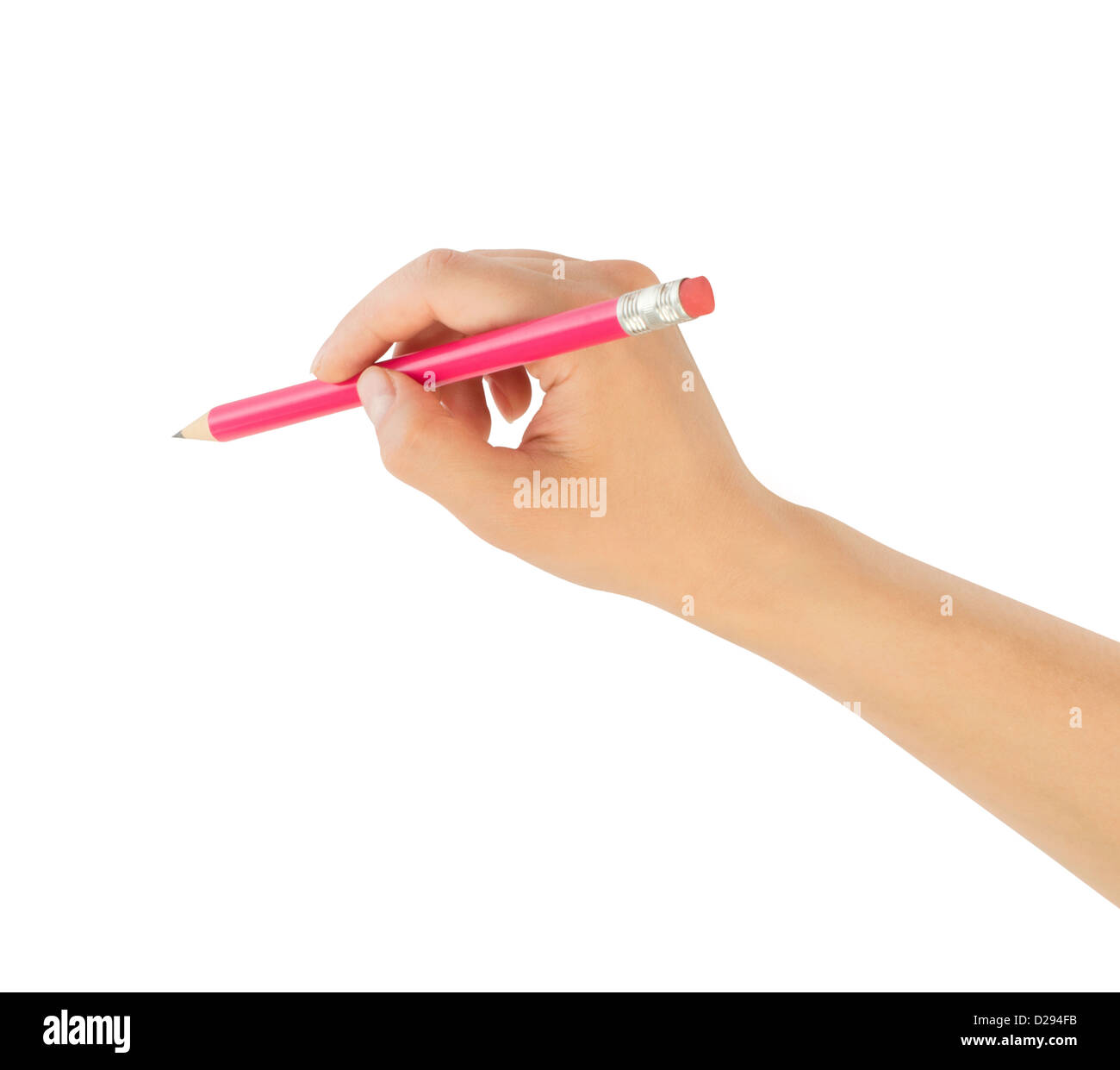 human hands with pencil writting something - Stock Image