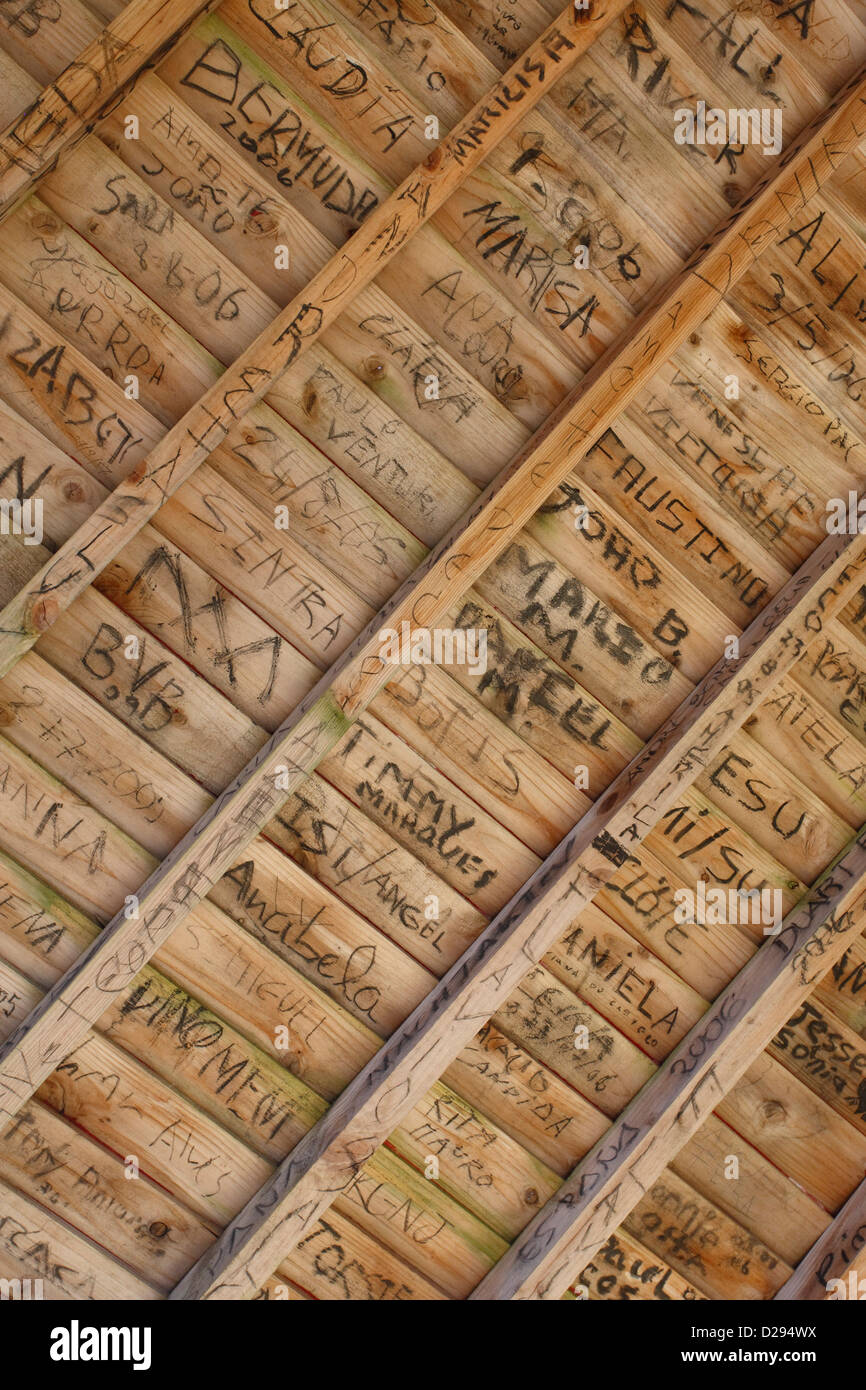 Writings on wood - Stock Image