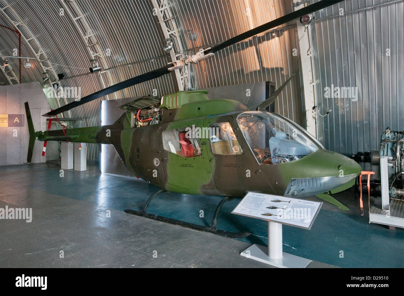Bell CH-136 Kiowa (OH-58A), observation helicopter, Polish Aviation Museum in Krakow, Poland - Stock Image