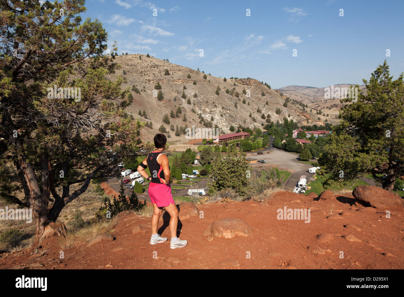 Woman looking over the view of RV campground at Kah-Nee-Ta