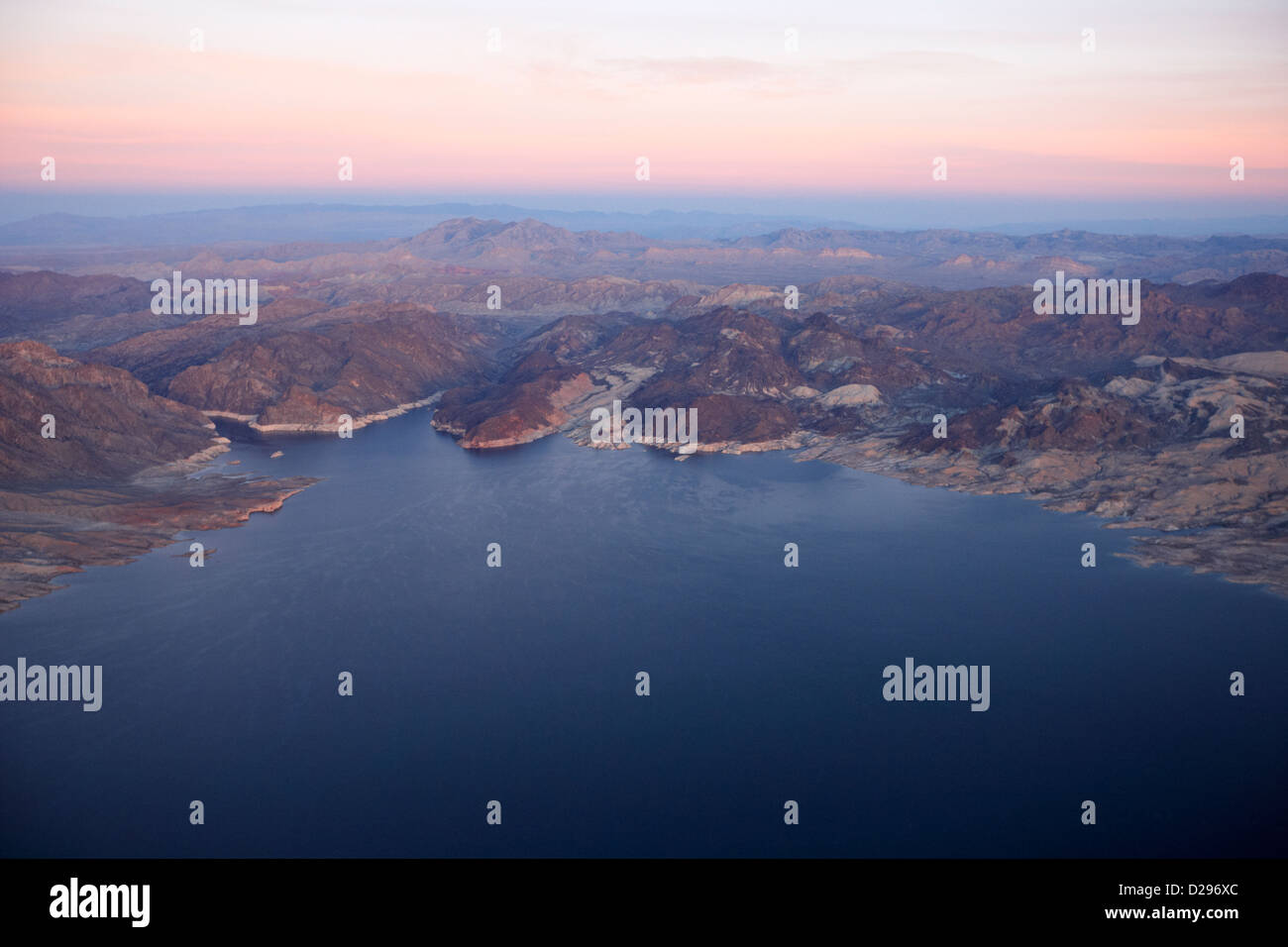 flying over lake mead virgin basin and southern nevada USA Stock Photo